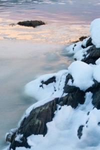 snowy shore line